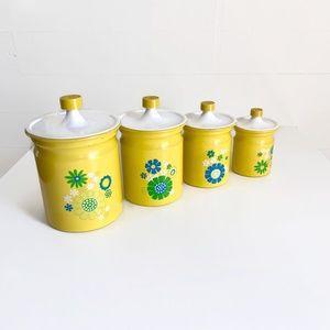 Vintage Kitchen - SOLD Vintage Kromex Canister Set Yellow Flowers